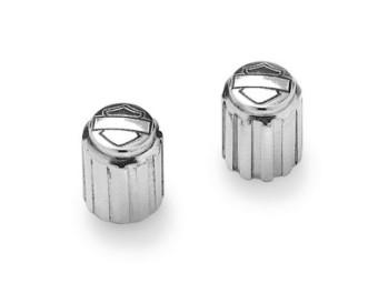 Valve Stem Caps 41149-98 Bar & Shield Fluted Chrome