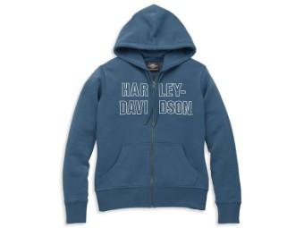 Kapuzenpullover gestickter H-D Schriftzug 96085-22VW Blau