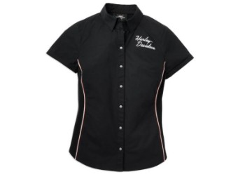 Harley-Davidson Iconic Button Front Stripe Detail Shirt Damen