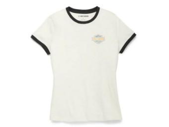 "Damen T-Shirt ""Racer Font Ringer Graphic"" 96117-22VW Weiß"