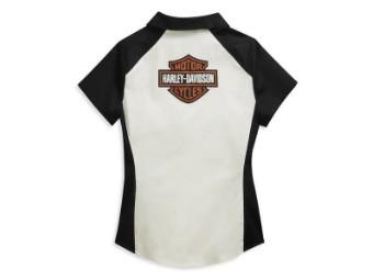"""Ladies Shirt """"Bar & Shield Logo"""" Zipper 96136-21VW White"""