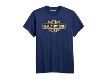 "Herren T-Shirt ""Bar & Shield"" Blau 96194-21VH Slim Tee"