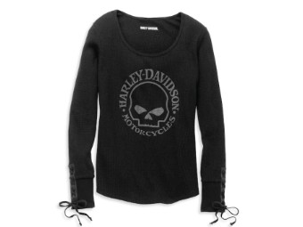 Willie G Skull Laced Detail Waffle Knit Top Damen