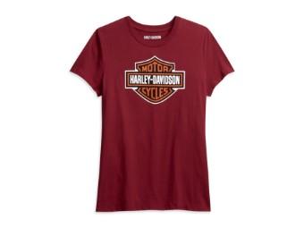 """Damen T-Shirt """"Classic Logo"""" 96235-21VW Rot Bar & Shield"""