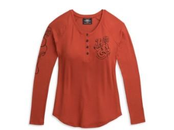 """Damen Sweatshirt """"Roses Henley"""" Red Longsleeve 96322-21VW"""