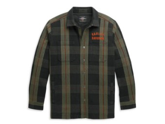 "Men's Casual Jacket Plaid Shirt ""Arched Logo"" 96347-21VM"