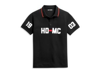 "Men's Polo-Shirt ""HD-MC 1903"" Black 96356-21VM"