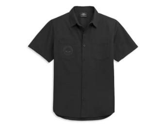 """Herren Hemd """"Skull Logo"""" Willie G. Schwarz 96360-21VM 2 Taschen"""