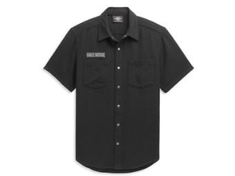 """Herren Hemd """"Logo Textured"""" 96361-21VM Schwarz Shirt"""