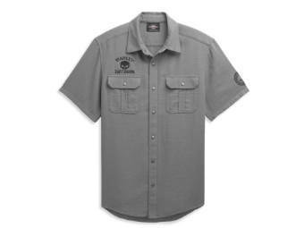 "Men's Textured Shirt ""Willie G. Skull"" Grey 96365-21VM Stitching Logo"
