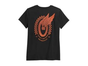 "Damen T-Shirt ""Winged Wheel"" Tee 96402-21VW Schwarz"