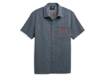 "Heren Hemd ""Railroad Stripe Mechanics"" Shirt 96422-21VM Kurzarm"