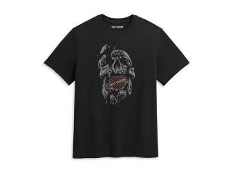 """Herren T-Shirt """"Broken Skull"""" 96439-21VM Schwarz Bar & Shield"""