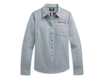 "Damen Hemd ""Railroad Stripe Logo"" Shirt 96490-21VW Langarm"