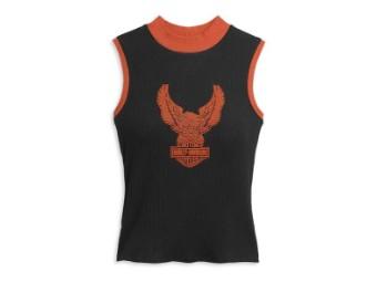 """Damen Top """"Winged Eagle"""" 96496-21VW Knit Tee Schwarz/Orange"""