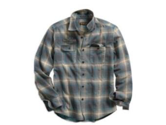 """Shirt """"Printed Plaid"""" 96511-19VM Slim Fit Blue Grey Yellow Vintg"""