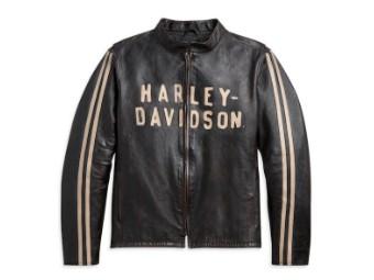 """Men's Leather Jacket """"Sleeve Stripe"""" Slim Fit 97009-21VH Black"""