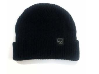 2-in-1 Knit Beanie 97601-21VM Black Bar & Shield