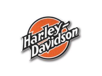 Harley Davidson Schriftzug Aufnäher Orange 97658-21VX Circle Emblem Bügelpatch