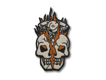 """""""Multi-Color-Patch"""" Skull Engine Flames 97666-21VX Iron-on Patch"""