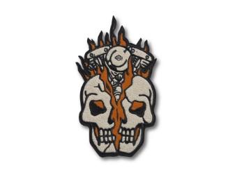 """Harley Davidson """"Multi-Color-Patch"""" Skull Engine Flames  Bügelpatch 97666-21VX"""