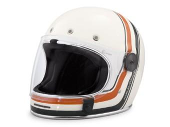"""Motorradhelm """"Vintage Stripe"""" Vollvisier 98146-18EX Weiß"""