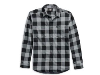 "Men's Shirt ""Flag Label"" 99029-21VM Plaid Black Grey"