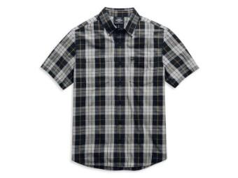 "Men's Shirt ""Eagle Logo"" 99052-21VM Plaid Black Gray Shortsleeve"
