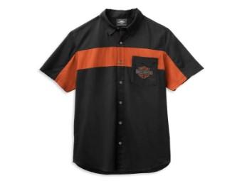 """Men's """"Copperblock Logo"""" Shirt 99070-21VM Black Orange"""