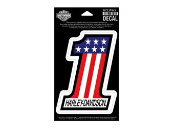 "Harley Davidson Decal/Sticker ""#1"" Red, White & Blue DC227843 small"