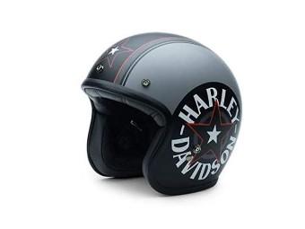 """Jet Helm """"Grey Star Retro"""" 3/4 Helm EC-98320-15E"""