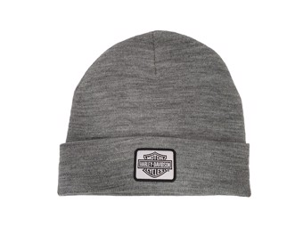 Acryl Bar & Shield Beanie Rip Strick Mütze Grau