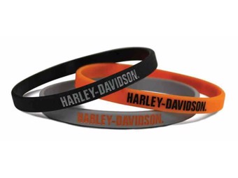 Harley-Davidson 3 Wristbands H-D Black, Orange, Gray WB51664 Gummiarmbänder