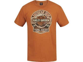 """AMERICAN IRON"" Dealer T-Shirt R003552 Orange Herren Tee"
