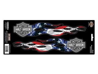 Harley-Davidson Sticker B&S Flames Stars & Stripes CG-32509