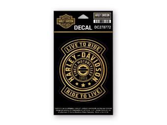 Harley-Davidson Sticker Decal -HARLEY SHIELD- Gold Sticker DC278772