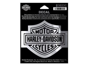 """Harley Davidson Aufkleber/Decal """"BAR + SHIELD"""" chrom mittel D3023C"""