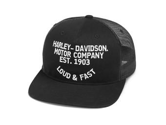 "Harley Davidson Basecap ""LOUD&FAST"" FLAT BRIM 99468-19VM"