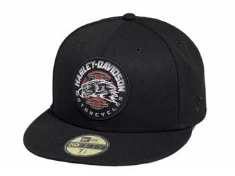 "Harley-Davidson Cap ""Eagle Patch"" 59FIFTY 97776-19VM Baseball Cap Black Eagle"