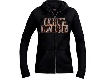 Harley Davidson Damen Dealer Zip Hoodie R003622 Schwarz Sweat Kapuzen Jacke