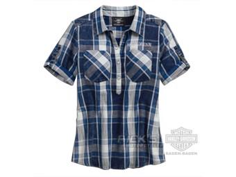 Harley Davidson Damen Freizeithemd kariert 96222-18VW Blau Weiß