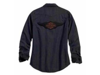 """Damen Hemd """"Studded Yoke"""" 96303-18VW Blau Grau Wings Flügel Logo"""