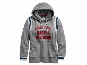 """Damen """"Long Live Collegiate"""" Hoodie 96327-19VW Sweatshirt Grau"""
