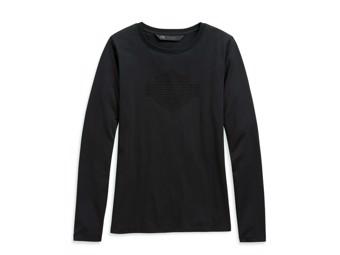 """Women's Longsleeve """"STUDDED LOGO"""" Shirt 99126-20VW Black S M"""