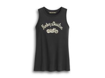 "Women's Shirt ""Embroidered Script"" Tank Top 96292-20VW Black"