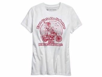 """Women's Shirt """"Fast Girls..."""" 96708-19VW White Red short sleeve"""