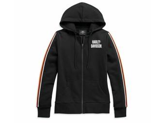 """Damen """"Sleeve Stripe"""" HOODIE 99111-20VW Sweatshirt schwarz Zip"""