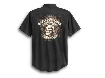 "Freizeithemd ""WOVEN"" kurzarm 96377-20VM Shirt schwarz Skull"