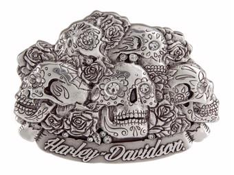 """Harley-Davidson Gürtelschnalle """"GLAM REAPER"""" 3D, Sugar Skull, Rosen HDWBU11217"""