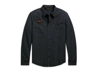 """Herren Langarm Hemd """"Vintage Eagle"""" 99103-20VH Schwarz Freizeit"""